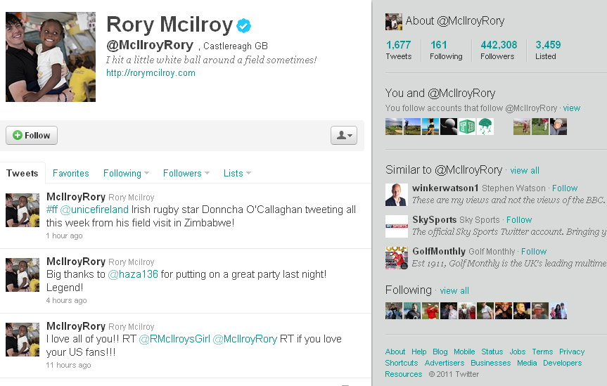 Rory McIlroy Twitter | James Irons Golf